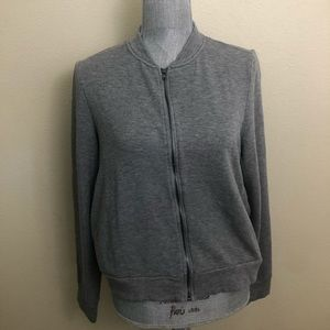H by Bordeaux Grey Crew Neck Zipper Jacket